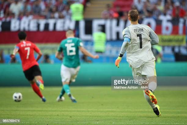 Manuel Neuer of Germany runs upfield during the 2018 FIFA World Cup Russia group F match between Korea Republic and Germany at Kazan Arena on June 27...