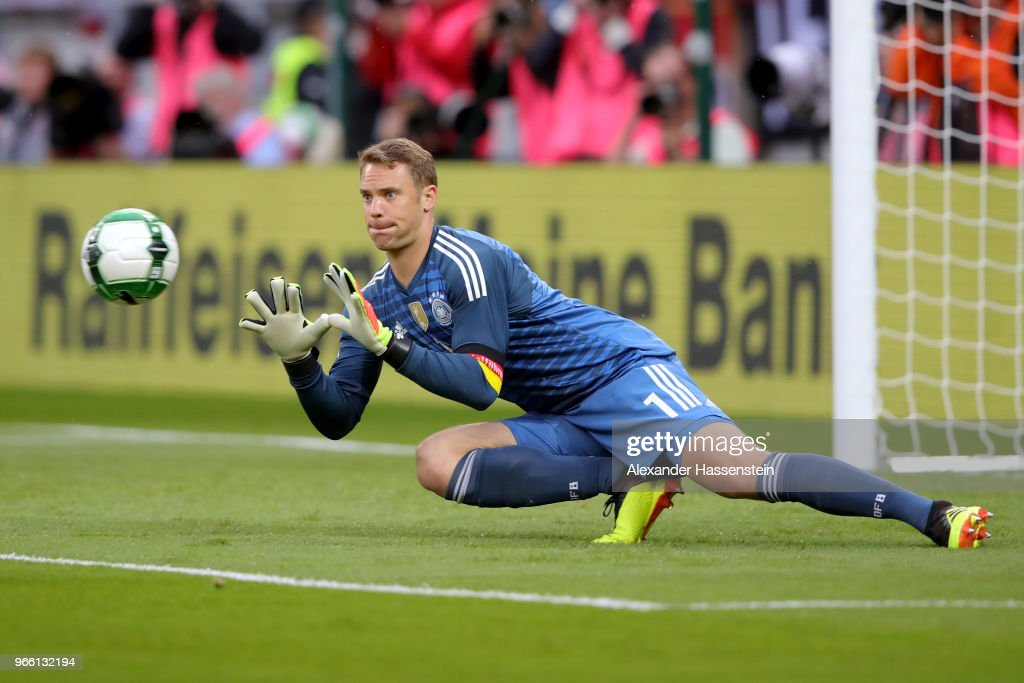 Manuel Neuer of Germany safes the ball during the International Friendly match between Austria and Germany at Woerthersee Stadion on June 2, 2018 in Klagenfurt, Austria.