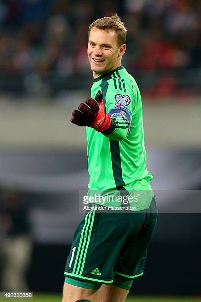 Manuel Neuer of Germany smiles during the UEFA EURO 2016 Group D qualifying match between Germany and Georgia at Stadium Leipzig on October 11 2015...