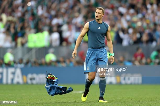Manuel Neuer of Germany throws his shirt away following his sides defeat in the 2018 FIFA World Cup Russia group F match between Germany and Mexico...