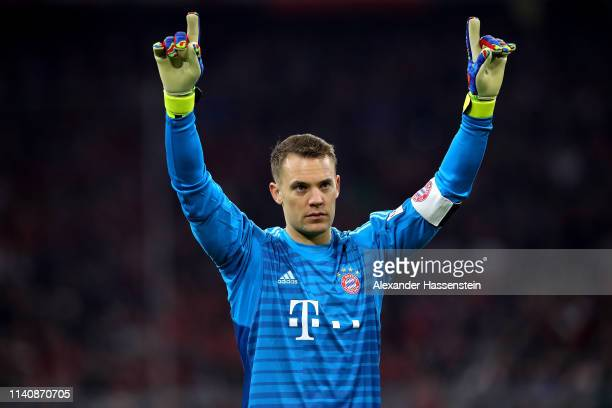 Manuel Neuer of Muenchen celebrates after winning the Bundesliga match between FC Bayern Muenchen and Borussia Dortmund at Allianz Arena on April 06...