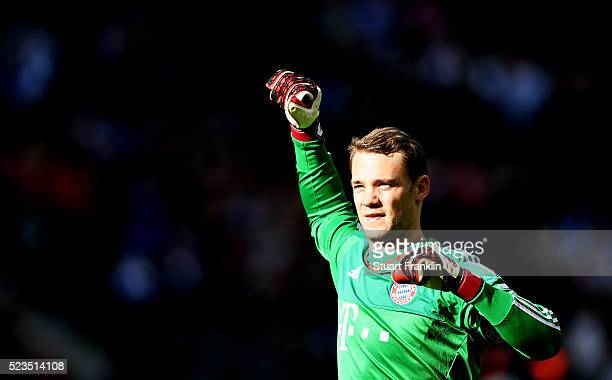 Manuel Neuer of Muenchen celebrates at the end of the Bundesliga match between Hertha BSC and FC Bayern Muenchen at Olympiastadion on April 23 2016...