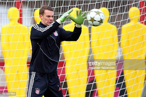 Manuel Neuer of Muenchen during a Bayern Muenchen training session ahead of their UEFA Champions League group F match against 'FC Bate Borisov at...