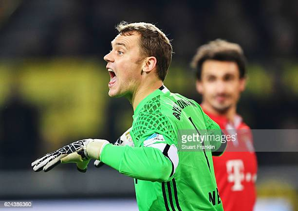 Manuel Neuer of Muenchen gestures during the Bundesliga match between Borussia Dortmund and Bayern Muenchen at Signal Iduna Park on November 19 2016...