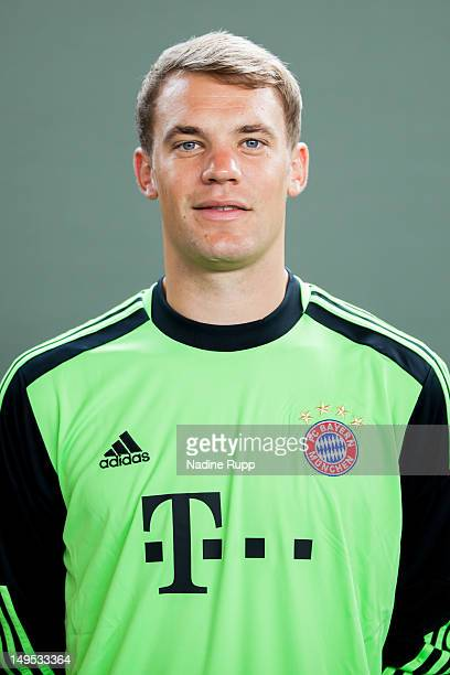 Manuel Neuer poses during the Bayern Muenchen team presentation at Bayern's training ground Saebener Strasse on July 30, 2012 in Munich, Germany.Ê