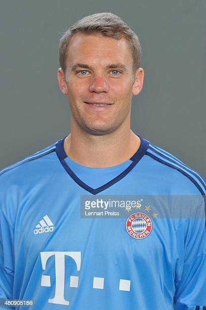 Manuel Neuer poses during the team presentation of FC Bayern Muenchen at Bayern's training ground Saebener Strasse on July 16 2015 in Munich Germany