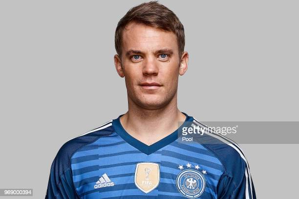 Manuel Neuer poses for a photo during a portrait session ahead of the 2018 FIFA World Cup Russia at Eppan training ground on June 5 2018 in Eppan...