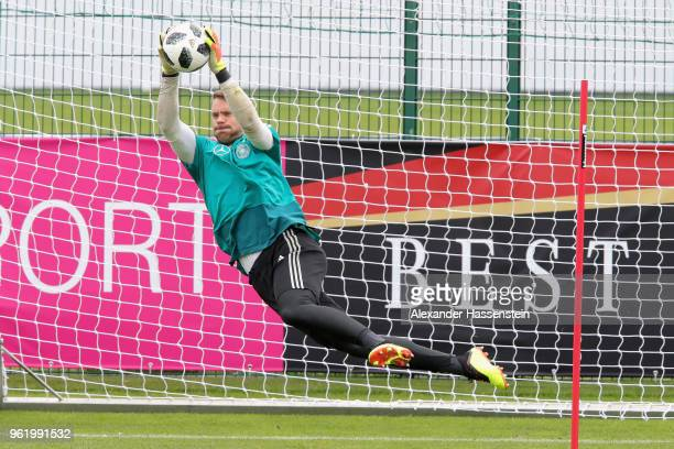 Manuel Neuer safes the ball during a training session of the German national team at Sportanlage Rungg on day two of the Southern Tyrol Training Camp...