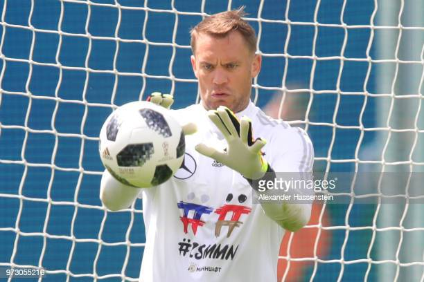 Manuel Neuer safes the ball during the Germany training session ahead of the 2018 FIFA World Cup at CSKA Sports Base on June 13 2018 in Moscow Russia