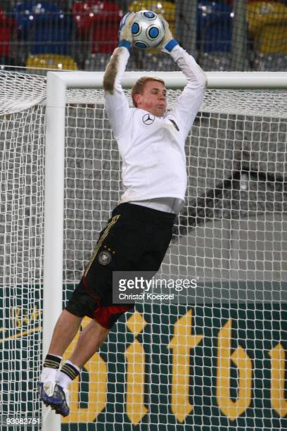 Manuel Neuer saves a ball during a German National team training session at the Esprit Arena on November 16, 2009 in Duesseldorf, Germany.