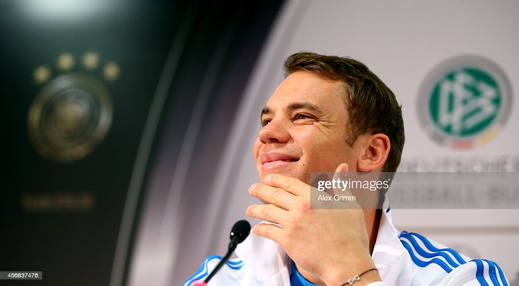 Manuel Neuer talks to the media during a press conference at Commerzbank Arena on October 8, 2014 in Frankfurt am Main, Germany.