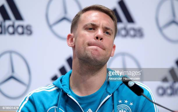 Manuel Neuer talks to the media during the Germany Training And Press Conference on June 19 2018 in Moscow Russia