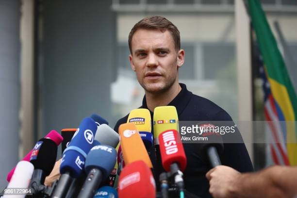 Manuel Neuer talks to the media during the return of the German national football team from the FIFA World Cup Russia 2018 at Frankfurt International...