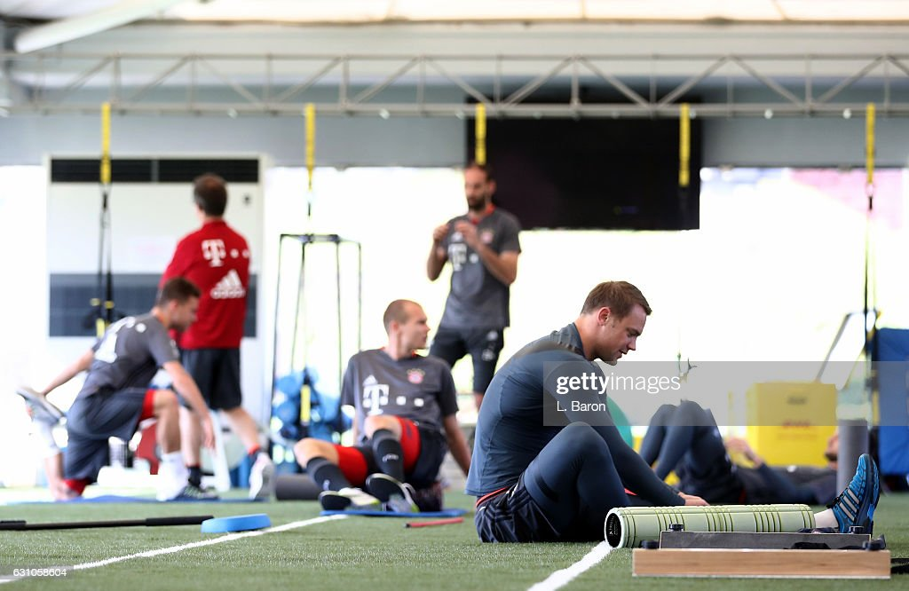 Manuel Neuer warms up during a training session at day 4 of the Bayern Muenchen training camp at Aspire Academy on January 6, 2017 in Doha, Qatar.