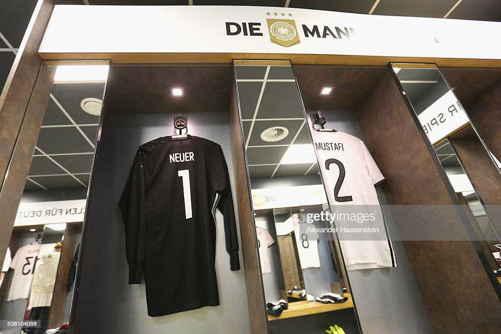 Manuel Neuer`s match jersey is seen at the dressing room of team Germany prior to the international friendly match between Germany and Hungary at Veltins-Arena on June 4, 2016 in Gelsenkirchen, Germany.
