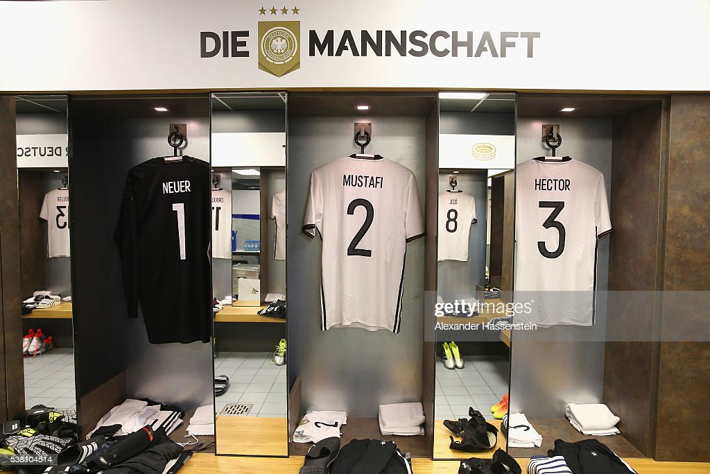Manuel Neuer`s , Shkodran Mustafi`s and Jonas Hector`s match jersey seen at the dressing room of team Germany prior to the international friendly match between Germany and Hungary at Veltins-Arena on June 4, 2016 in Gelsenkirchen, Germany.