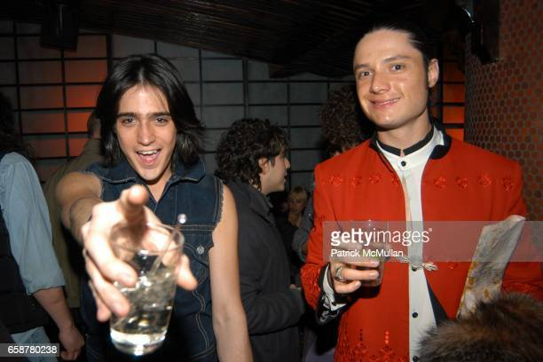 Manuel Norena and Alejandro Dipaz attend the Michael Stipe's/Dazed and Confused Magazine's Drinks and Dancing Party at Hiro on February 10 2004 in...