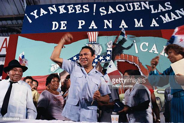 Manuel Noriega with Supporters