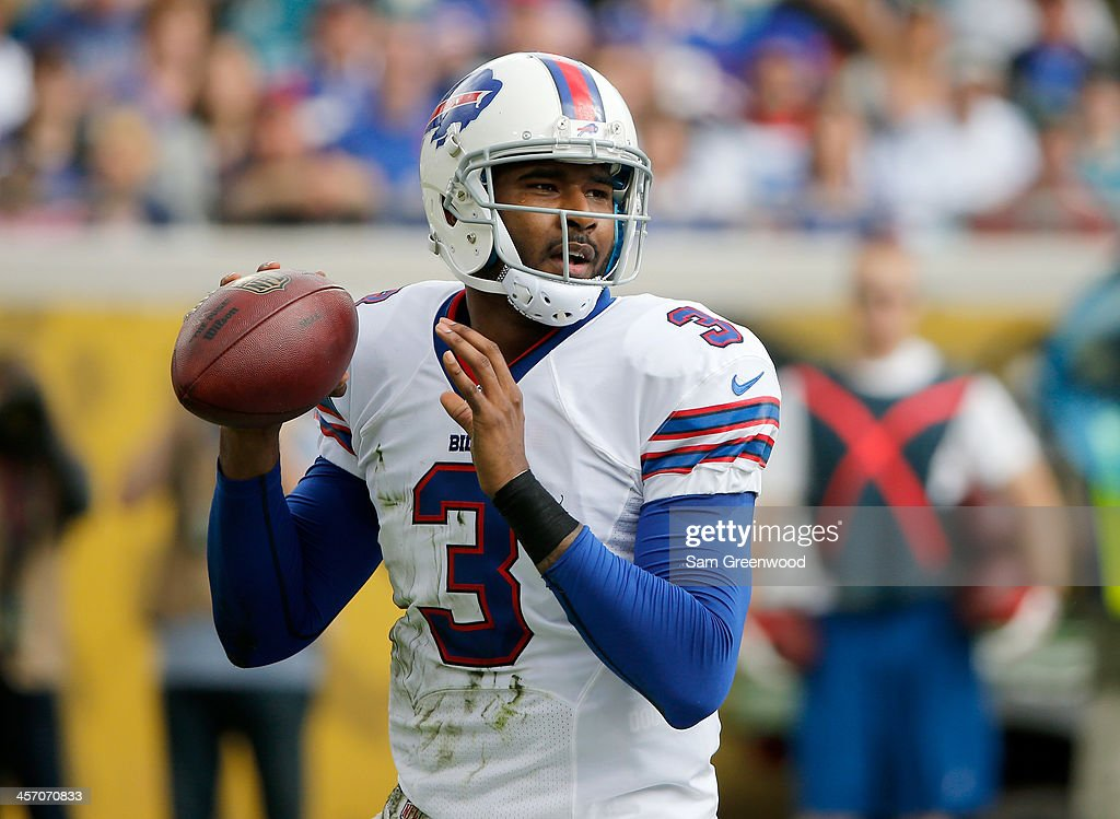 EJ Manuel #3 of the Buffalo Bills attempts a pass during the game against the Jacksonville Jaguars at EverBank Field on December 15, 2013 in Jacksonville, Florida.