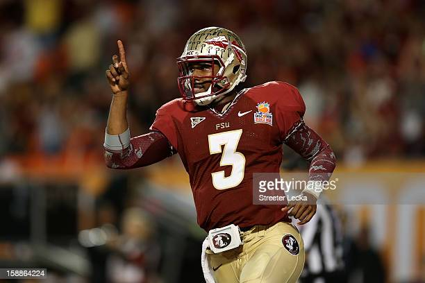 Manuel of the Florida State Seminoles celebrates after he scored a 9yard rushing touchdown in the fourth quarter against the Northern Illinois...