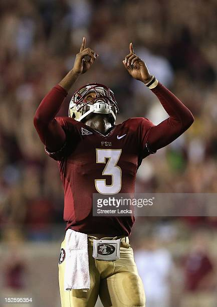 Manuel of the Florida State Seminoles celebrates after his teammate runs for a touchdown during their game against the Clemson Tigers at Doak...