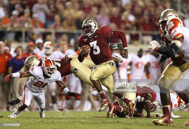 Manuel of the Florida State Seminoles runs with the ball against the Clemson Tigers during their game at Doak Campbell Stadium on September 22 2012...