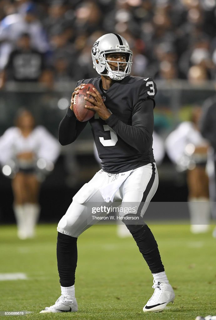 EJ Manuel #3 of the Oakland Raiders drops back to pass against the Los Angeles Rams during the third quarter of their preseason NFL football game at Oakland-Alameda County Coliseum on August 19, 2017 in Oakland, California.