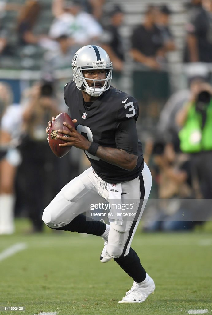 EJ Manuel #3 of the Oakland Raiders looks to throw a pass against the Seattle Seahawks in the first quarter of their game at the Oakland-Alameda County Coliseum on August 31, 2017 in Oakland, California.