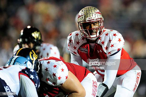 J Manuel of the South squad waits for the snap against the North squad during the Senior Bowl at Ladd Peebles Stadium on January 26 2013 in Mobile...