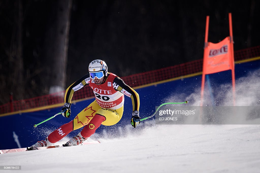 Manuel Osborne-Paradis of Canada competes in the 8th Men's Downhill event of the FIS Alpine Ski World Cup in Jeongseon county, some 150km east of Seoul on February 6, 2016. The FIS Ski Men's World Cup runs from February 6-7 and is the first official test event for the Pyeongchang 2018 Winter Olympics. AFP PHOTO / Ed Jones / AFP / ED