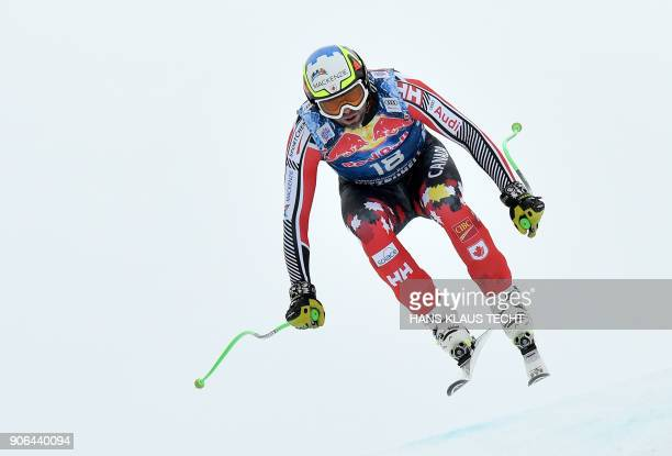 Manuel OsborneParadis of Canada performs during a training session of the FIS Alpine World Cup Men's downhill event in Kitzbuehel Austria on January...