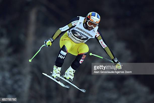 Manuel Osborneparadis of Canada takes 3rd place during the Audi FIS Alpine Ski World Cup Men's Downhill Training on January 26 2017 in...