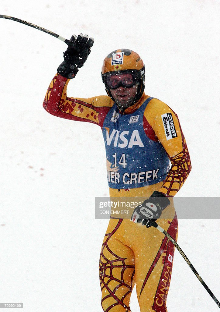 Manuel Osborne-Paradis of Canada waves to the crowd in the finish area after racing the men's World Cup Alpine downhill 01 December, 2006 in Beaver Creek, Colorado. Osborne-Paradis finished in 27th place.