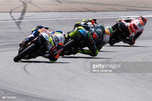 Manuel Pagliani of Italy and CIP leads the field during the Moto3 race during the MotoGP Of Malaysia Race at Sepang Circuit on October 29 2017 in...