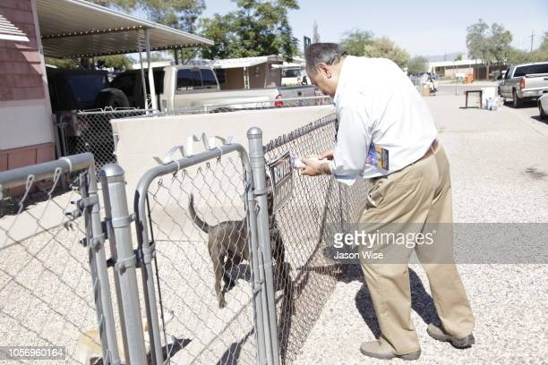 Manuel Palocios of MoveOn canvass for Ann Kirkpatrick on November 3 2018 in Tucson Arizona