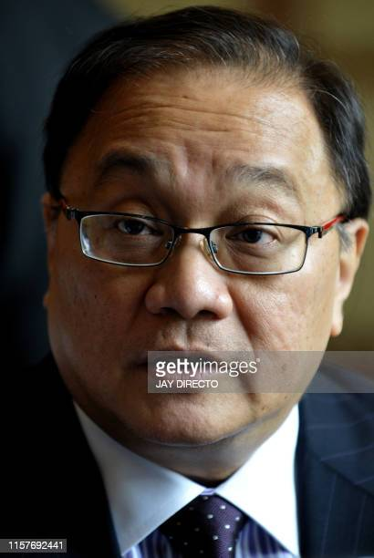 Manuel Pangilinan chairman of Philippine Long Distance Telephone Co after he addresses the company's annual stockholders' meeting in Manila's...