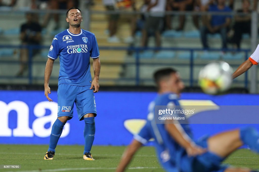 Manuel Pasqual of Empoli Fc reacts during the TIM Cup match between Empoli FC and Renate at Stadio Carlo Castellani on August 5, 2017 in Empoli, Italy.