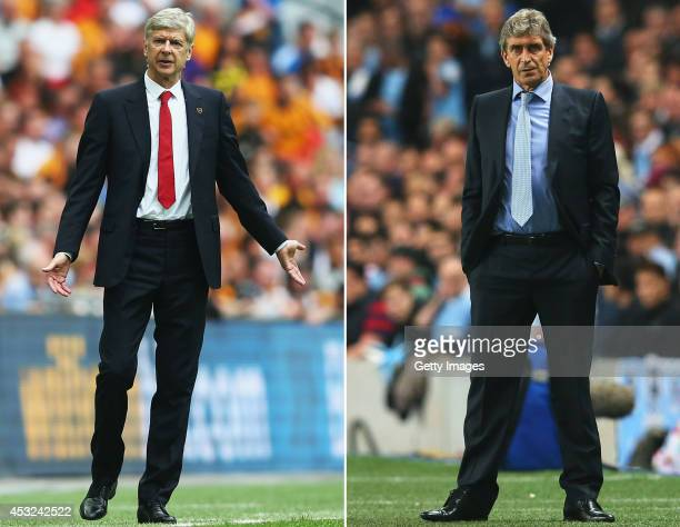 COMPOSITE OF TWO IMAGES Image numbers 491737577 and 182933633 In this composite image a comparision has been made between Arsene Wenger Manager of...
