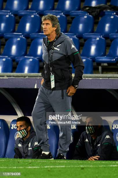 Manuel Pellegrini coach of Real Betis Balompie during the La Liga Santander match between Getafe CF and Real Betis at Coliseum Alfonso Perez on...