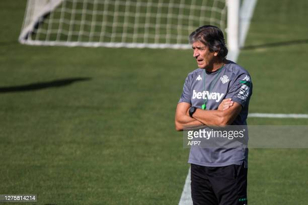 Manuel Pellegrini head coach looks on during the Real Betis Balompie training session at the Luis del Sol Sports City on September 23 2020 in Sevilla...