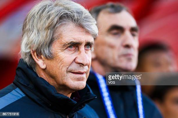 Manuel Pellegrini head coach of Hebei China Fortune looks on during the Chinese Super League match between Hebei China Fortune and Guangzhou...
