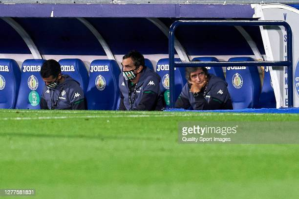 Manuel Pellegrini head coach of Real Betis looks on during the La Liga Santander match between Getafe CF and Real Betis at Coliseum Alfonso Perez on...