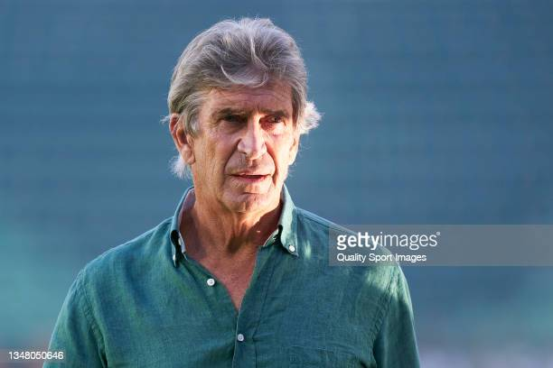 Manuel Pellegrini, Head Coach of Real Betis, looks on prior to the UEFA Europa League group G match between Real Betis and Bayer Leverkusen at...