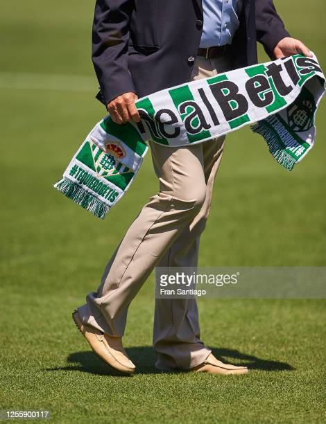 Manuel Pellegrini is unveiled as new manager of Real Betis Balompie at Estadio Benito Villamarin on July 13 2020 in Seville Spain