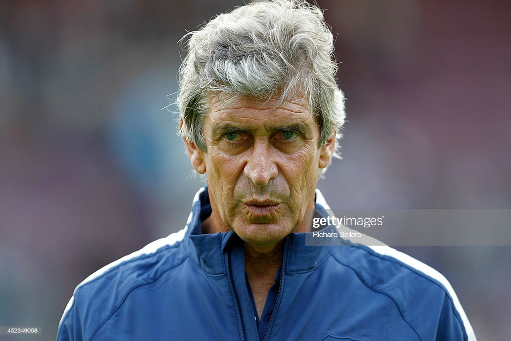 Manuel Pellegrini, manager of Manchester City before the pre-season friendly at Tynecastle Stadium on July 18, 2014 in Edinburgh, Scotland.