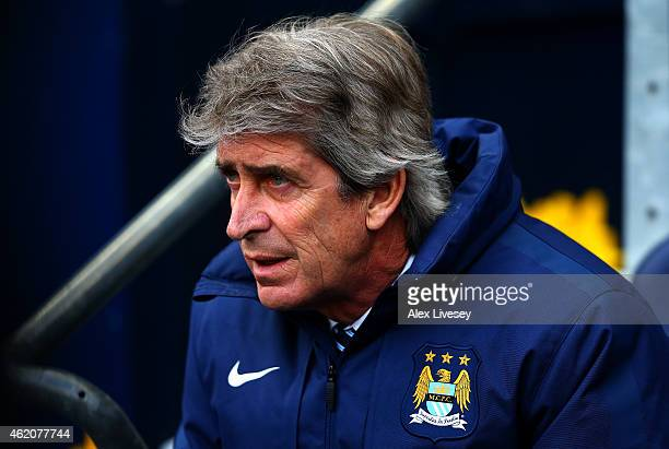 Manuel Pellegrini manager of Manchester City looks on before the FA Cup Fourth Round match between Manchester City and Middlesbrough at Etihad...