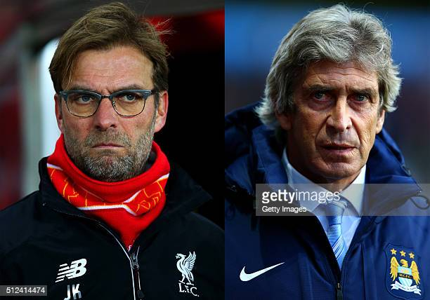 FILE PHOTO Image Numbers 502929048 and 456637674 In this composite image a comparison has been made between Jurgen Klopp manager of Liverpool and...