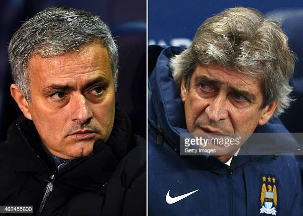 COMPOSITE OF TWO IMAGES Image numbers 460957880 and 460953432 In this composite image a comparision has been made between Jose Mourinho Manager of...