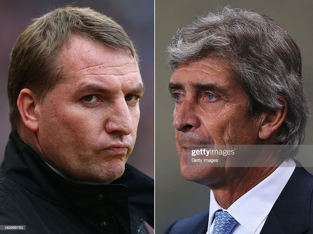 IMAGES - Image Numbers 159397701 (L) and 459415429) In this composite image a comparison has been made between Brendan Rodgers ,manager of Liverpool (L) and Manuel Pellegrini, manager of Manchester City. Liverpool and Manchester City meet for a league match on April 13, 2014 at Anfield, Liverpool. Manuel Pellegrini, manager of Manchester City looks on prior to the Barclays Premier League match between Manchester City and Liverpool at Etihad Stadium on December 26, 2013 in Manchester, England.