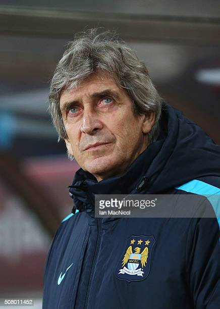Manuel Pellegrini manager of Manchester City looks on prior to the Barclays Premier League match between Sunderland and Manchester City at the...